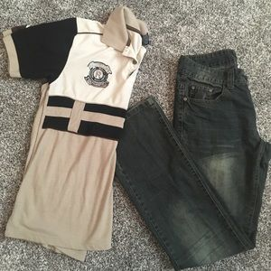 Boys size 14 denim jeans and shirt